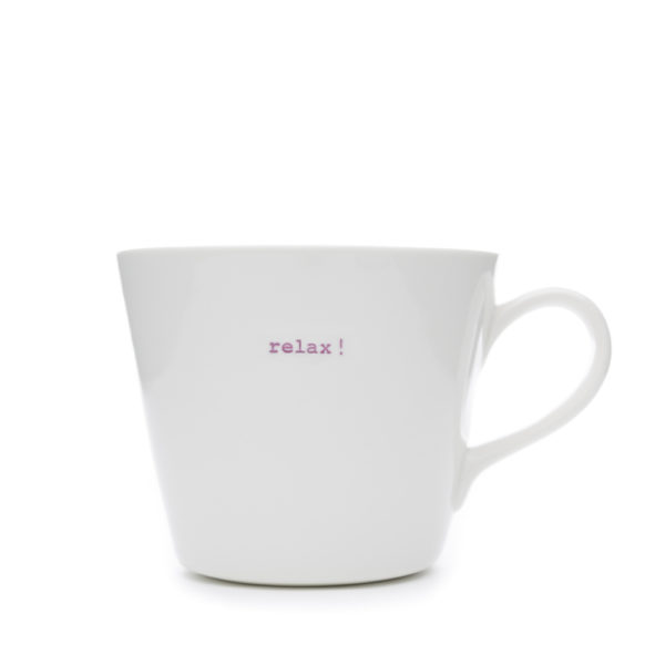 "White Bucket Mug ""relax!"" 350Ml"